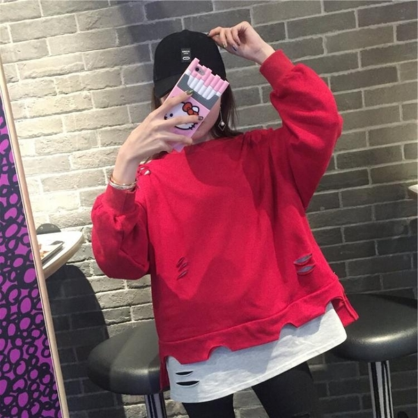 [超豐國際]夏季學院風破洞假兩件紅色衛衣女套頭寬松外套學生上1入