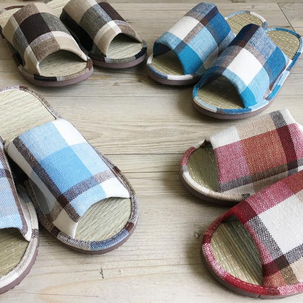 小日常-真草蓆室內拖鞋-英倫格紋-紅