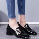 中跟鞋 單鞋女春季40英倫風小皮鞋胖寬腳肥中跟粗跟高跟鞋子 開春特惠