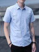 襯衫男短袖商務寸休閒韓版新款潮流寬鬆薄款夏季七分男士襯衣 快速出貨