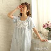 睡裙 睡衣女睡裙紗布純棉薄款短袖日系甜美可愛條紋開衫中裙家居裙 傾城小鋪