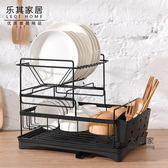 瀝水架 放碗架瀝水架廚房晾放碗筷碗碟置物架雙層收納盒餐具碗盤收納架子T 2色
