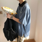 (快出)原宿風POLO衫男翻領短袖T恤潮牌潮流寬鬆帶領衣服cec超火嘻哈港風