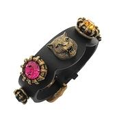 GUCCI 古馳 鑲四色水鑽及金黃銅虎頭黑色牛皮手環 Barcelet 【BRAND OFF】