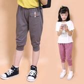 小女森夏裝寬鬆褲子女童七分褲薄款兒童洋氣短褲外穿中褲休閒褲潮
