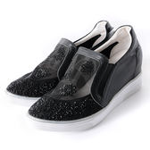 DeSire   水鑽透膚感網布休閒鞋-黑