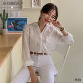 東京著衣-MERONGSHOP-自然微透棉麻單口袋襯衫(E190008)