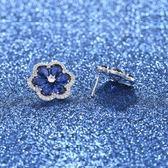 耳環 925純銀 鑲鑽-唯美花朵生日情人節禮物女飾品4色73hz105【時尚巴黎】