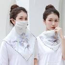 披肩絲巾-夏季薄款多功能防曬口罩絲巾護頸...