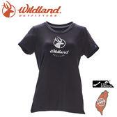 【Wildland 荒野 女 彈性印花經典抗UV上衣《黑》】0A71637/運動衣/吸濕排汗/T恤/防曬