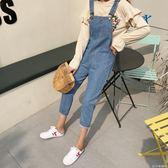 吊帶褲女裝新款韓版寬鬆個性背帶褲女寬鬆休閒長褲口袋牛仔褲連體褲 法布蕾