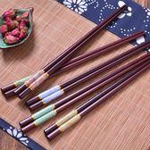 骨瓷高檔實木筷子無蠟10雙套家用防滑便攜餐具禮品吾本良品