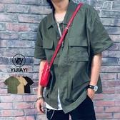 《預購7天》【YIJIAYI】多口袋設計 落肩版型 簡約素色 短袖襯衫【X廠】(X-16134)