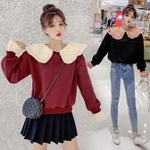 【GZ23】假兩件上衣 秋季新款韓版娃娃領荷葉 邊上衣拼接假兩件長袖顯瘦衛衣