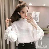 蕾絲上衣2019韓版氣質燈籠袖半高領雪紡衫女寬鬆顯瘦 qw1939『俏美人大尺碼』