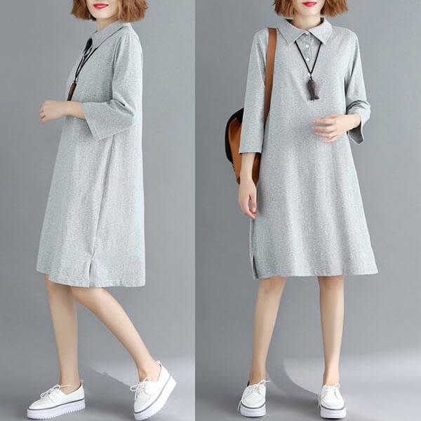 棉質 襯衫領開襟素色洋裝-中大尺碼 獨具衣格