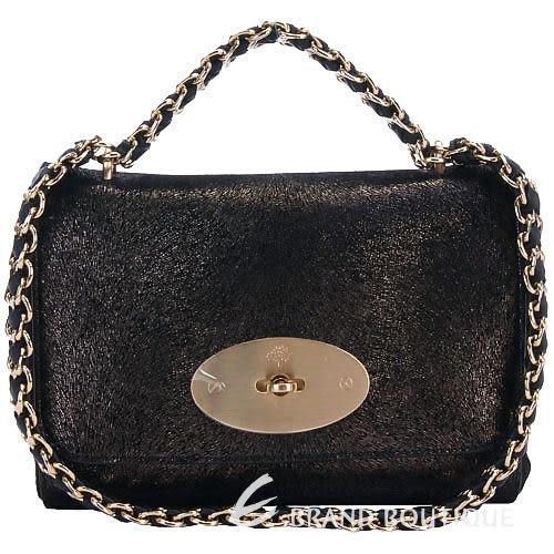 MULBERRY Lily 經典鍊帶肩背包(黑色) 1240156-01