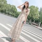 平口洋裝/一字領 長裙女夏2021新款顯瘦夏季法式溫柔風裙子一字肩連身裙褶皺奶油裙