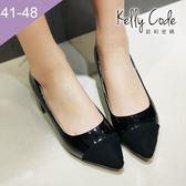 大尺碼女鞋-凱莉密碼-時尚名媛款絨面撞色尖頭低跟鞋高跟鞋5cm(41-48)【XL86-1】黑色