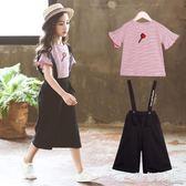 女童背帶褲套裝 女童夏裝套裝夏季背帶褲兩件套中大童潮衣洋氣 qf20686【黑色妹妹】