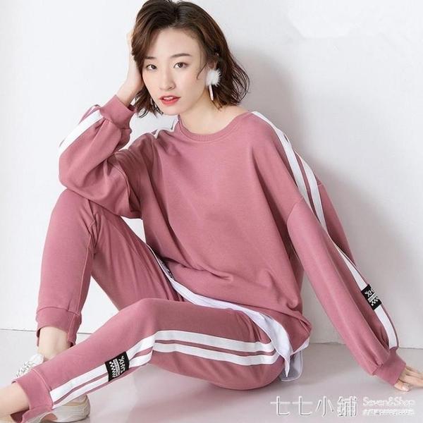 洋氣時尚運動服套裝女春秋季2019新款韓版寬鬆學生休閒衛衣兩件套