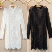 蕾絲打底衣  2020新款蕾絲打底衫中長款韓版長袖小衫網紗上衣