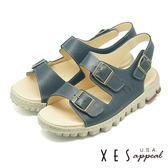 XES 兩段式涼鞋 有型好穿 三處魔鬼氈 真皮耐穿 厚底涼鞋_藍色