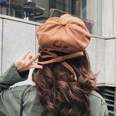 天天新品旅游女秋冬季韓版蝴蝶結八角帽鴨舌帽日系簡約畫家貝雷帽子