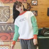EASON SHOP(GU7634)實拍韓版英文字母印花割破洞撞色拼色袖小高領長袖T恤女上衣服大學T落肩長版棉T恤