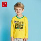 JJLKIDS 男童 極簡運動風數字棉T(黃色)