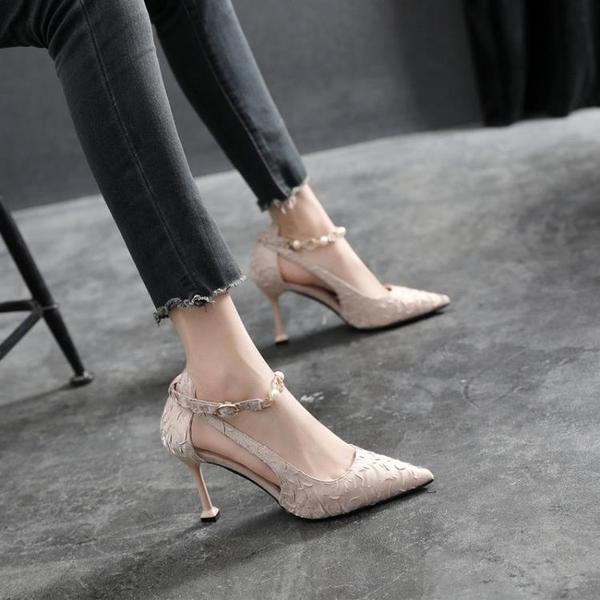低跟鞋 2021新款配裙子網紅單鞋女小香風貓跟涼鞋一字帶大東尖頭高跟鞋