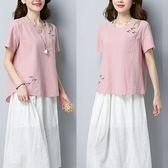 棉麻 海鷗刺繡中國風口袋上衣-中大尺碼 獨具衣格