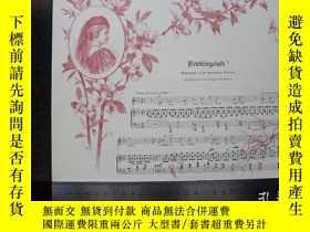 二手書博民逛書店【罕見】1890年小幅木刻版畫《春天的空氣》(frühlings