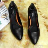 舒適軟皮鞋細跟春夏單鞋工裝鞋職業空姐鞋工作鞋女黑色正裝高跟鞋   麥琪精品屋