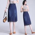 蕾絲牛仔半身裙女春夏2021新款高腰顯瘦開叉中長款包臀裙一步裙 快速出貨