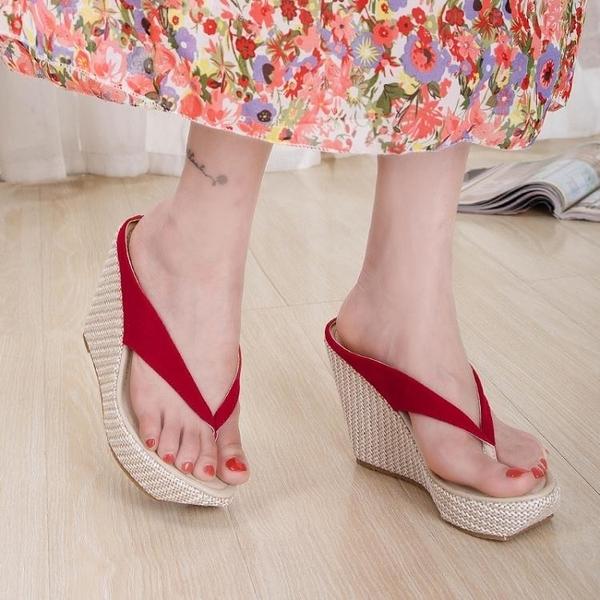 尖頭夾腳涼拖鞋坡跟厚底防水台人字拖夾腳鞋涼鞋33碼