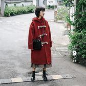 大衣 新品中長款連帽牛角扣毛呢子大衣女外套