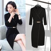 OL職業洋裝職業連身裙春秋季女裝ol氣質時尚正裝黑色工裝大碼工作服 快速出貨YJT
