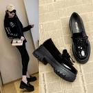 牛津鞋 新款楔形單鞋 春秋平底小皮鞋 秋款一腳蹬懶人鞋厚底樂福鞋 店慶降價