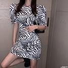 緊身洋裝 裙子2020年新款修身收腰顯瘦連身裙女斑馬紋夏天緊身包臀裙性感潮 愛麗絲