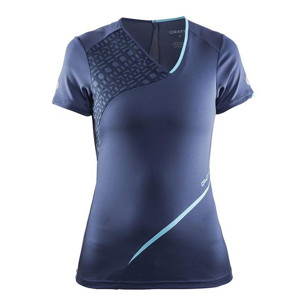 【速捷戶外】瑞典CRAFT 1904765 女曲線V領短袖排汗衣(藍紫), 排汗衣 圓領T恤