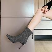 尖頭高跟短靴女2020新款秋冬季細跟裸靴百搭亮片性感貓跟時裝靴子 果果輕時尚