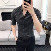 夏季男士七分袖襯衫韓版條紋短袖襯衣中袖夜店髮型師五分袖寸衫潮 快速出貨