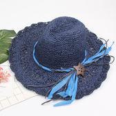 手工編織鉤針草帽 鏤空可折疊大沿帽度假遮陽帽m167