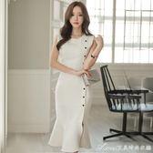 夏裝新款韓版無袖名媛氣質女裝晚宴小禮服魚尾洋裝中長裙潮艾美時尚衣櫥