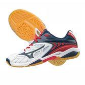 樂買網 MIZUNO 18SS 高階排羽球鞋 FANG SS2 4E超寬楦 71GA171314 藍x白x紅 贈防撞護膝
