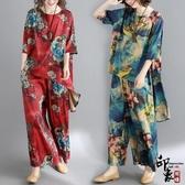 復古印花大尺碼女裙褲寬鬆中袖上衣兩件時尚套潮‧中大尺碼