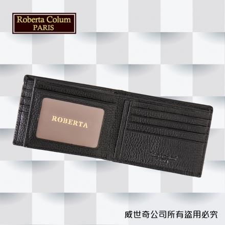 【Roberta Colum】諾貝達 男用皮夾 短夾 專櫃皮夾 進口軟牛皮短夾(咖啡色-24006)【威奇包仔通】