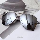 墨鏡 潮流復古款 黑色反光鏡片金屬太陽眼鏡 抗UV400  中性單品 柒彩年代【NY334】MIT台灣製造