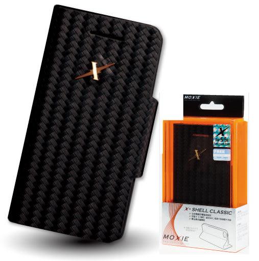 X-Shell  iPhone5/5S/SE 防電磁波真皮掀蓋套/全球獨創防電磁波設計x結合NFC讀取悠遊卡(經典黑)